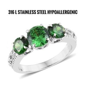 Jewelry - Simulated Emerald Stainless Steel Trilogy Ring.